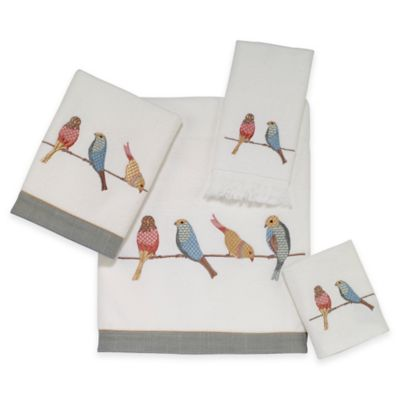 Bird on a Wire Hand Towel in White