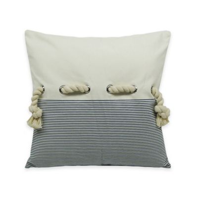 Newport Rope Embellished Square Throw Pillow