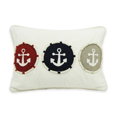Newport Triple Anchor 20-Inch x 14-Inch Throw Pillow