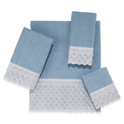 Eyelet Scallop Bath Towel in Blue Fog