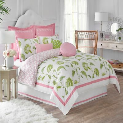 Dena™ Home Palm Court Reversible Full/Queen Duvet Cover in White/Pink