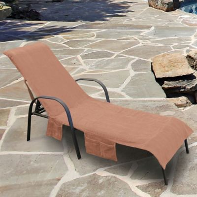 Ultimate Chaise Lounge Chair Cover with Storage Pockets in Khaki