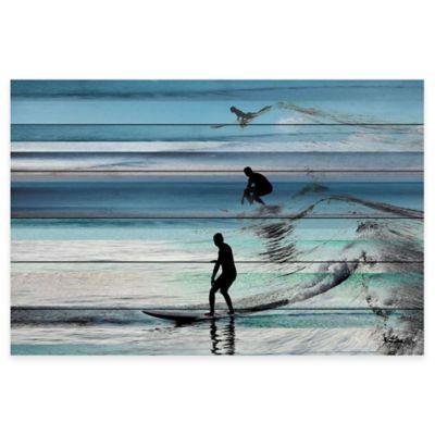 Parvez Taj Wave Jumping 60-Inch x 40-Inch White Wood Wall Art