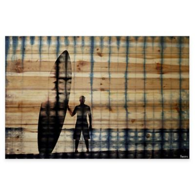 Parvez Taj Surfer At Dusk 45-Inch x 30-Inch Wood Wall Art