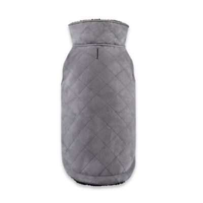 Friends Forever Benson Medium Quilted Unisuede Pet Coat in Grey/Black