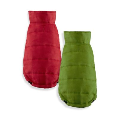Friends Forever Leo X-Small Reversible Unisuede Pet Coat in Red/Grey