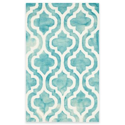 Safavieh Dip Dye Double Trellis 2-Foot 6-Inch x 4-Foot Accent Rug in Ivory/Turquoise