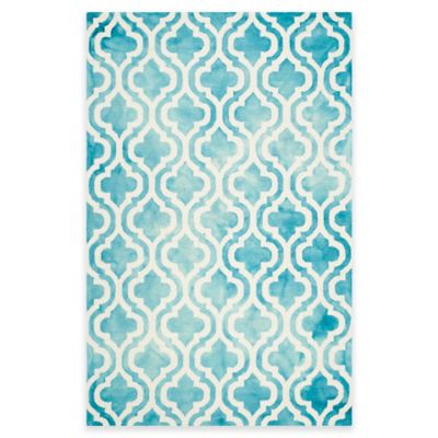 Safavieh Dip Dye Double Trellis 6-Foot x 9-Foot Area Rug in Ivory/Turquoise