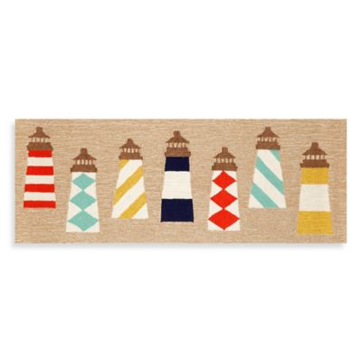 Trans-Ocean 27-Inch x 72-Inch Front Porch Lighthouses Door Mat