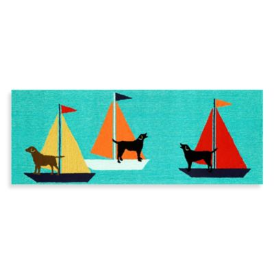 Trans-Ocean 27-Inch x 72-Inch Front Porch Sailing Dogs Door Mat
