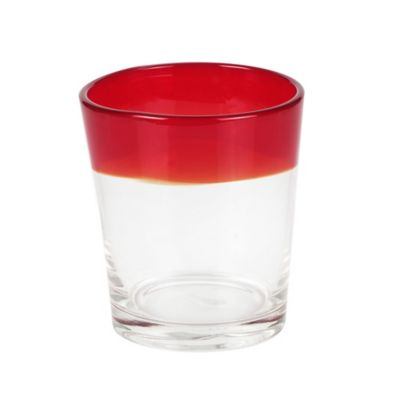 Caribbean Joe Red Rim Double Old Fashioned Glasses (Set of 4)