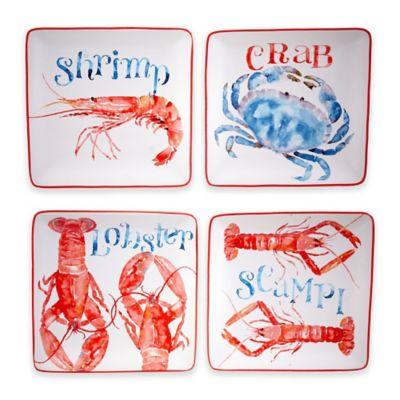 Caribbean Joe Beach House Kitchen Crab Canapé Plates (Set of 4)