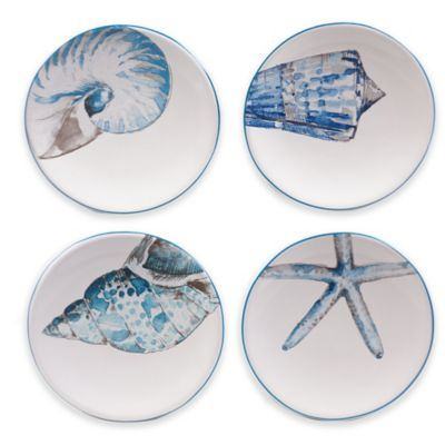 Certified International Sea Finds Canapé Plates (Set of 4)