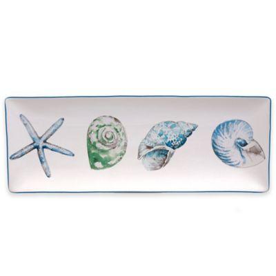 White Blue Rectangular Platter