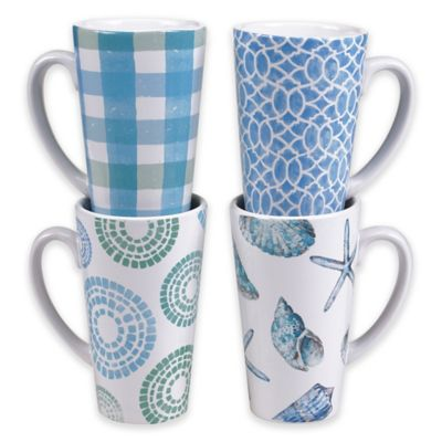 Certified International Sea Finds Latte Mugs (Set of 4)