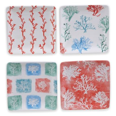 Certified International Water Coral Canapé Plates (Set of 4)