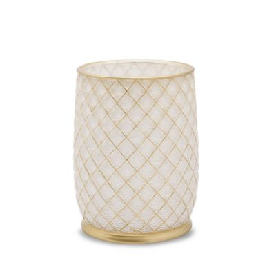 Buy gold bath wastebasket from bed bath beyond for Gold bathroom wastebasket