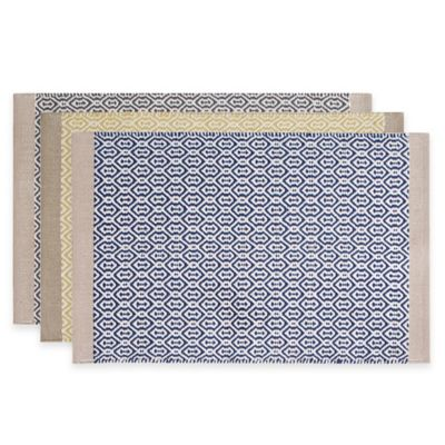 INK+IVY Charlie 20-Inch x 30-Inch Woven Cotton Mat in Blue