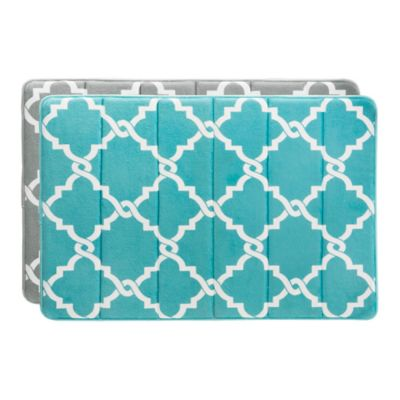 Madison Park Essentials Merritt 20-Inch x30-Inch Reversible Memory Foam Bath Mat in Aqua