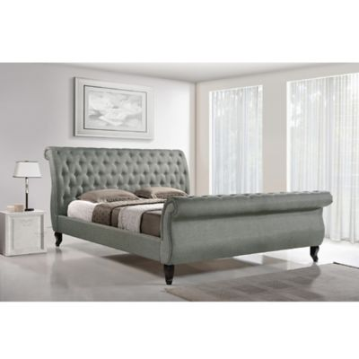 Baxton Studio Arran Linen Upholstered Queen Platform Bed and Bench Set in Beige
