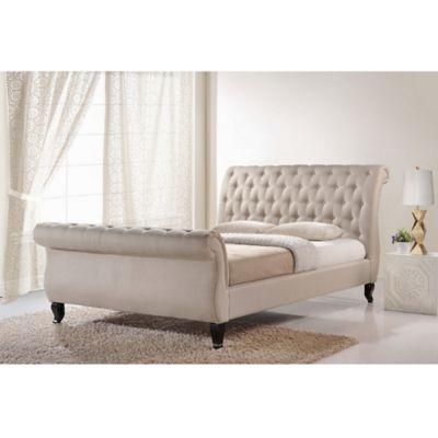 Baxton Studio Arran Linen Upholstered King Platform Bed and Bench Set in Beige