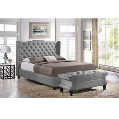Baxton Studio Norwich Platform Queen Bed and Bench Set in Grey