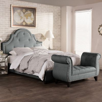 Baxton Studio Colchester Upholstered King Platform Bed and Bench Set in Grey