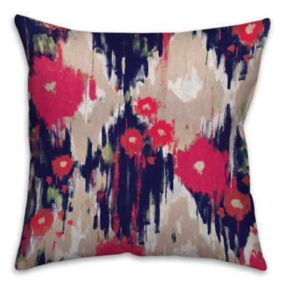 Drippy Ikat Flowers 16-Inch Square Pillow