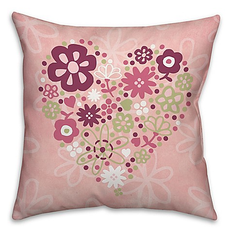 Flower Heart Square Throw Pillow in Pink - www.BedBathandBeyond.com