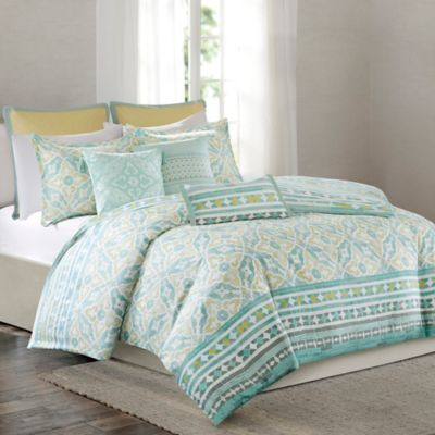 Aqua Yellow Duvet Cover Set