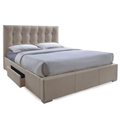 Baxton Studio Queen Sarter Storage Bed in Brown