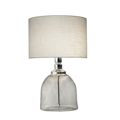 Adesso® Sparrow 18.75-Inch Table Lamp in Chrome with Linen Shade