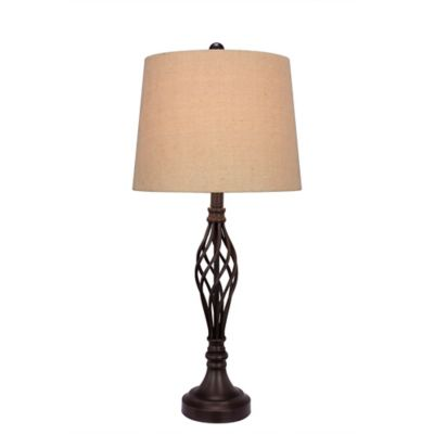 Fangio Lighting Metal Table Lamp in Pewter with Cotton Shade