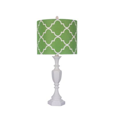 Fangio Lighting 25-Inch Table Lamp in White with Green Linen Shade