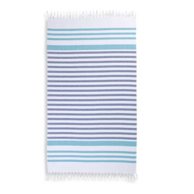 Cabana Stripe Turkish Cotton Beach Towel in Aqua