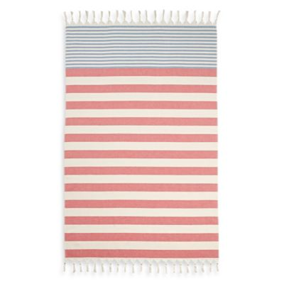 Cabana Stripe Turkish Cotton Beach Towel in Red