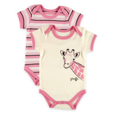 "BabyVision® Touched by Nature Size 3-6M 2-Pack ""Giraffe"" Organic Cotton Bodysuits in Pink"
