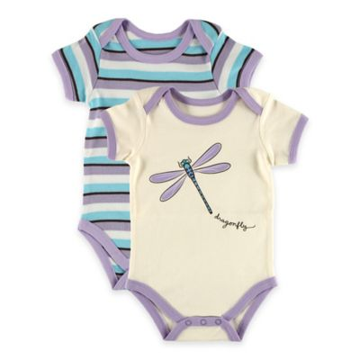 "BabyVision® Touched by Nature Size 9-12M 2-Pack ""Dragonfly"" Organic Cotton Bodysuits in Purple"