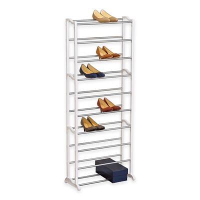 30 Pair White Shoe Rack