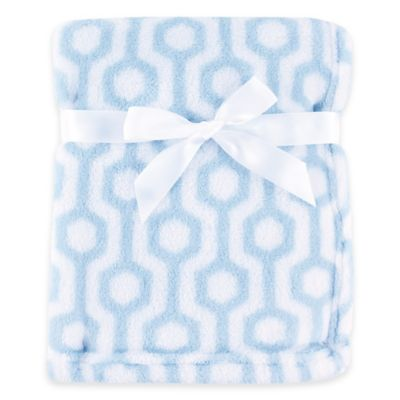 BabyVision® Luvable Friends® Hexagon Coral Fleece Blanket in Blue