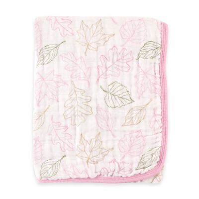 BabyVision® Touched by Nature Leaves 2-Layer Organic Muslin Stroller Blanket in Pink