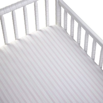 CoCaLo® Striped Cotton Percale Fitted Crib Sheet in Pink/White