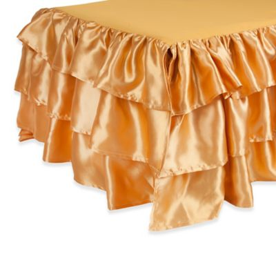 Sleeping Partners Tadpoles 3-Tier Ruffled Satin Twin Bed Skirt in Gold
