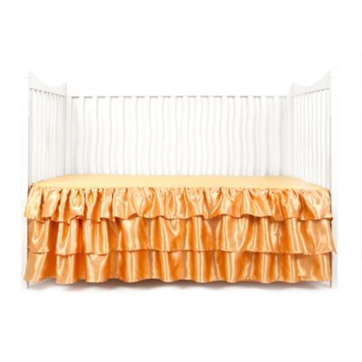 Sleeping Partners Tadpoles 3-Tier Ruffled Satin Crib Skirt in Gold