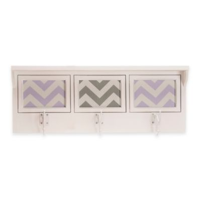 Glenna Jean Swizzle 3-Opening Photo Hanger Shelf in Purple/White