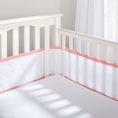BreathableBaby® Deluxe Embossed Mesh Crib Liner in White/Coral