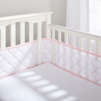 BreathableBaby® Ultra Luxe Mesh Crib Liner in White/Pink