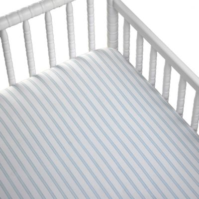 Striped Fitted Crib Sheet in Blue