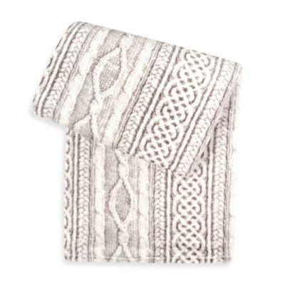 Sleeping Partners Tadpoles Cable Knit Print Microfleece Blanket
