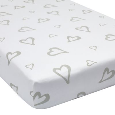 Greenbuds Abstract Affection Organic Cotton Fitted Crib Sheet in White/Grey